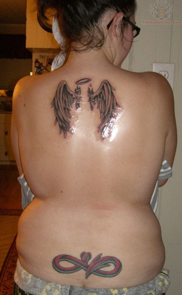 Perfect Black And Red Color Ink Angel Wings & Tail Tattoo On Back For Women