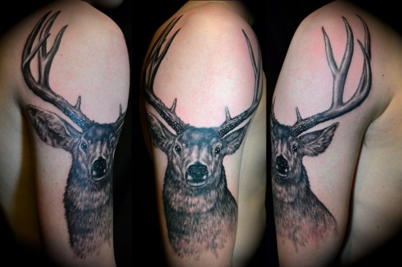 Perfect Black And Red Color Ink Deer Sleeve Tattoo Design For Boys
