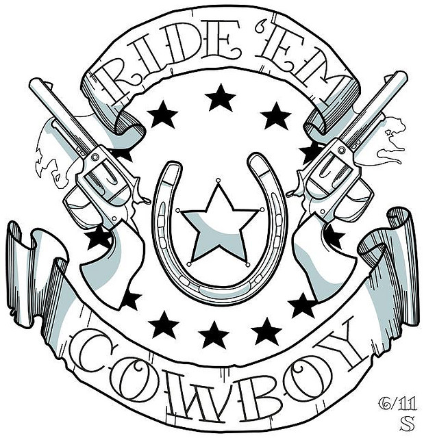 Perfect Black Color Ink Cowboy Tattoo Design For Boys