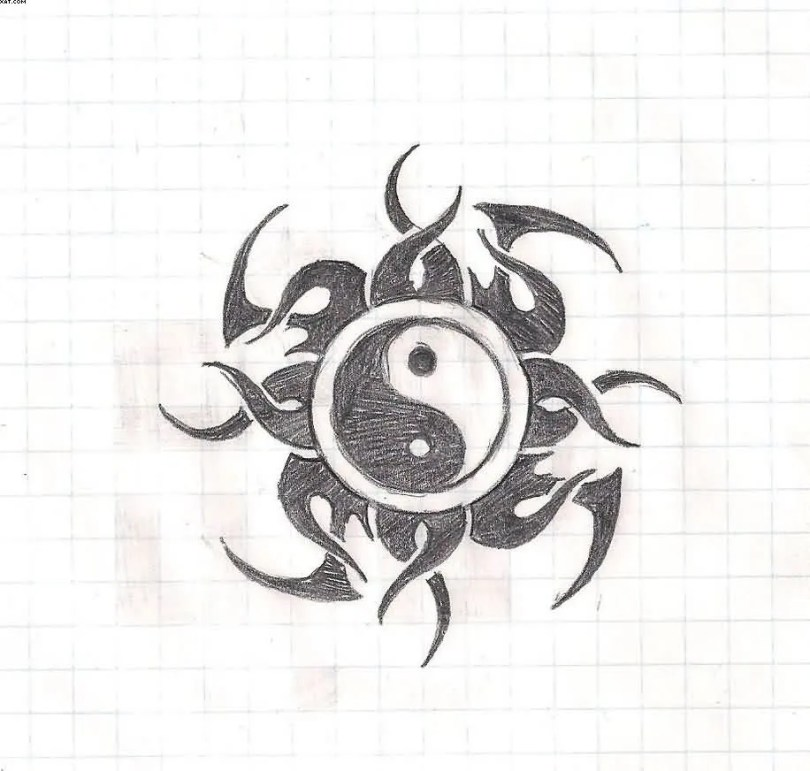 Phenomenal Yin Yang Tribal Tattoo Design Sample