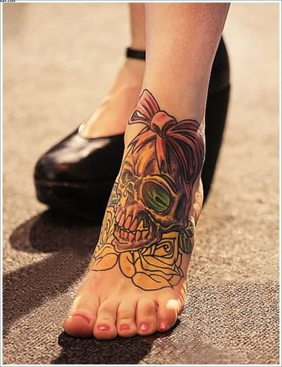 Phenomenal Zombie Skull With Roses Tattoos On Foot With Colorful Ink