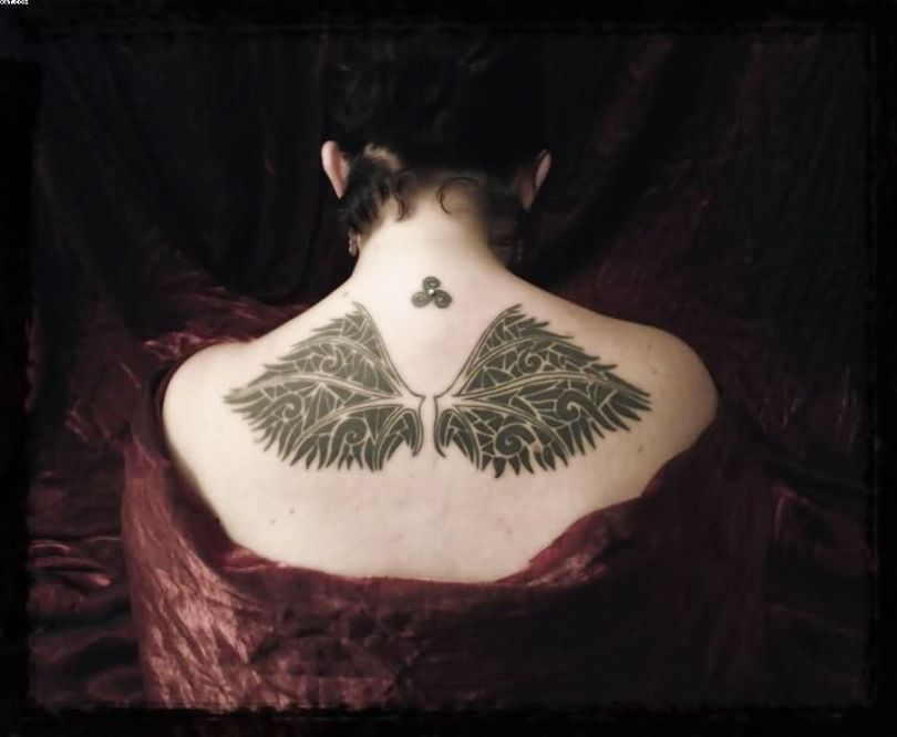Popular Green Color Ink Broken Angel Wings Tattoo Design On Girl Back Side For Girls