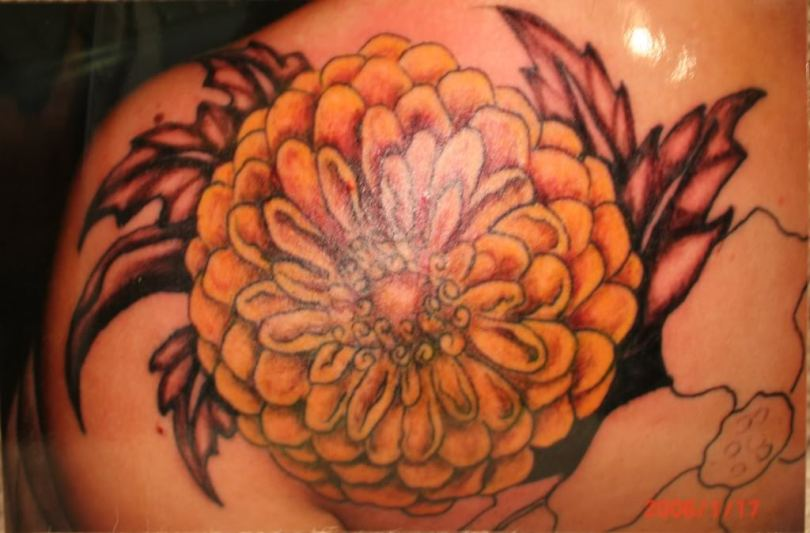 Popular Yellow Red And Black Color Ink Chrysanthemum Flower Tattoo For Girls