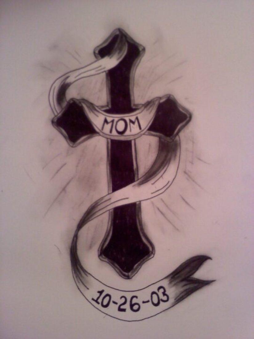 Populat Black Color Ink Cross Banner Tattoo Design For Girls