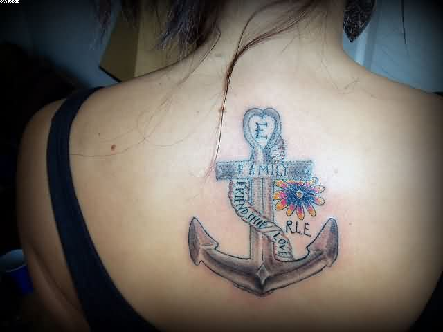 Realistic Black And Blue Color Ink Family Friendship & Love Anchor Tattoo On Upper Back For Girls