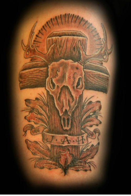 Realistic Black And Red Color Ink Deer Skull Cross Tattoo Design For Boys