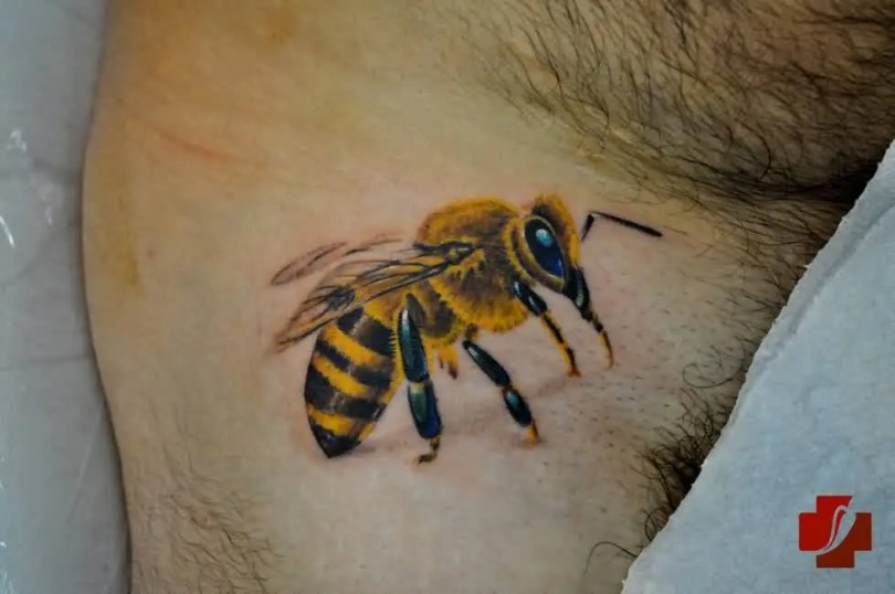 Realistic Black And Yellow Color Ink Black & Yellow Bee Tattoo On Leg For Boys