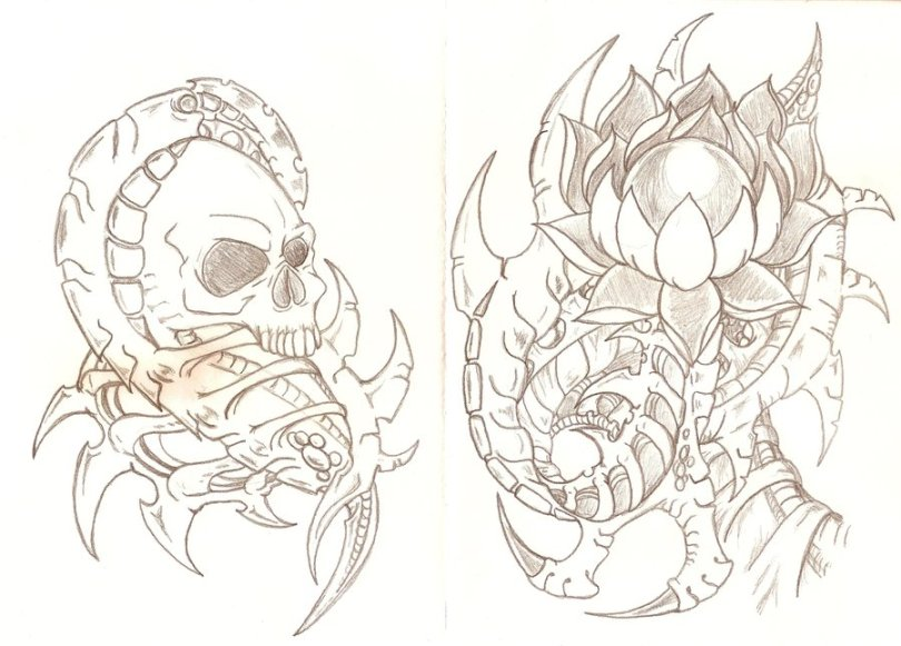 Realistic Black Color Biomechanical Skull & Lotus Tattoo Design For Boys