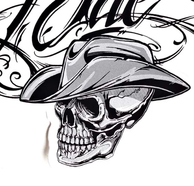 Realistic Black Color Ink Cowboy Skull Tattoo Sample For Boys
