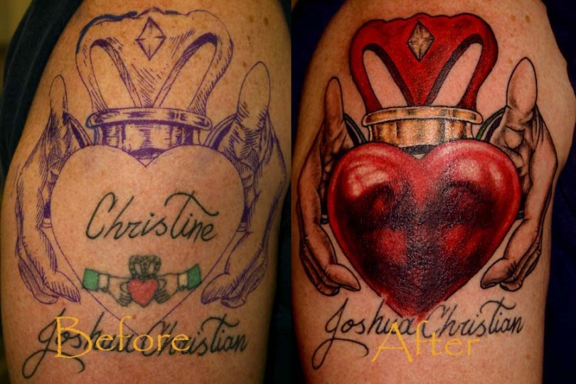 Realistic Blue Red And Black Color Ink ReakTwo 7Claddagh Tattoo Designs For Girls