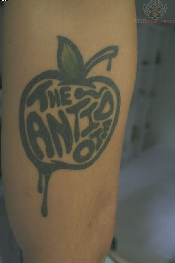 Realistic Grey Color Ink The Antidote Apple With Leaf Tattoo Design For Girls