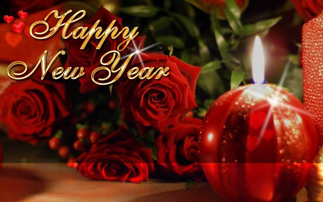 Red Flower Greetings To Friend Happy New Year Image
