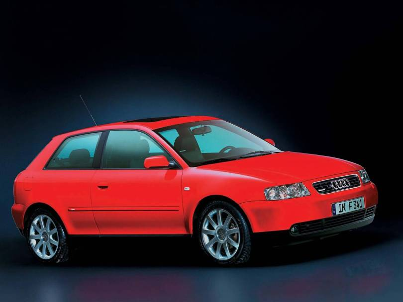 Right side view of beautiful red Audi A3 car
