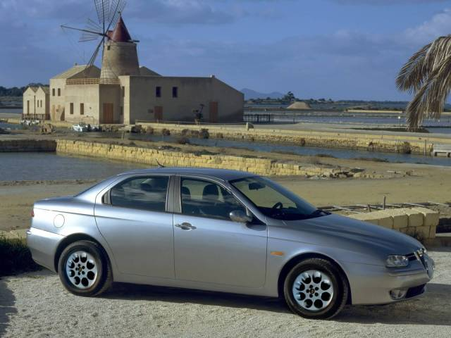 Right side view of beautiful silver Alfa Romeo 156 Car