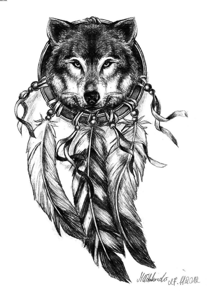 Sample Tattoo Of Wolf And Dream Catcher With Black Ink