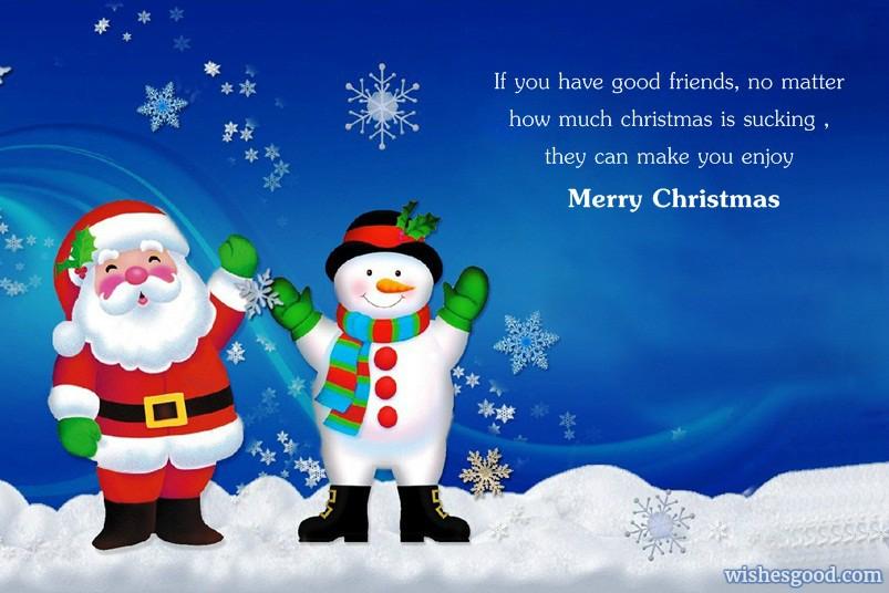 Santa And Snow Man Wishes Fantastic Merry Christmas