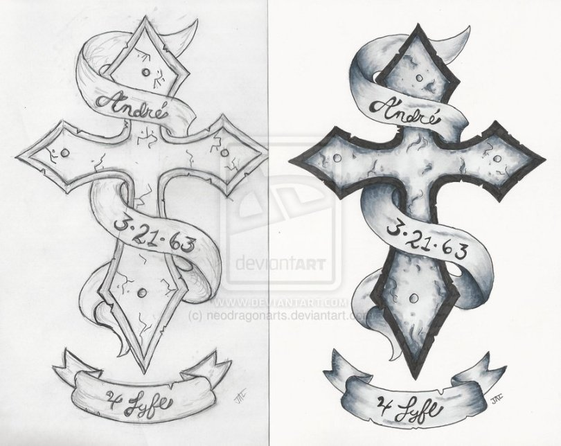 Sensation Black And White Color Cross Tattoo Designs For Girls