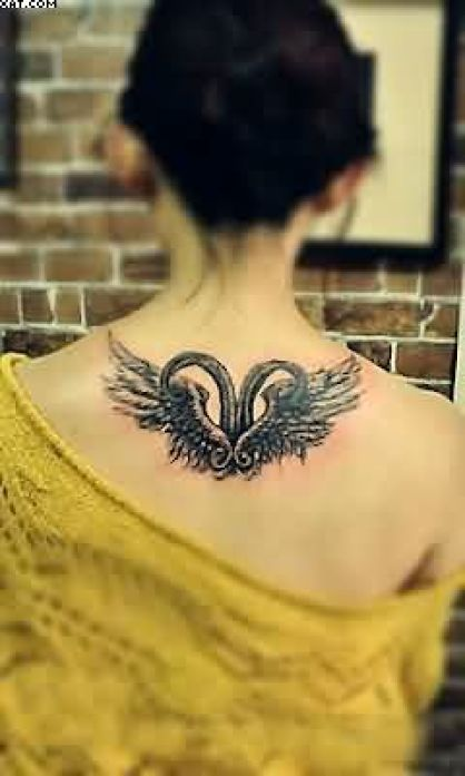Sensation Black Color Ink Aries Tattoo Angel Wings Design On Upper Back For Girls