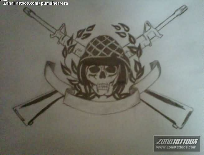 Sensation Black Color Ink Army Skull & Guns Tattoo Design For Boys