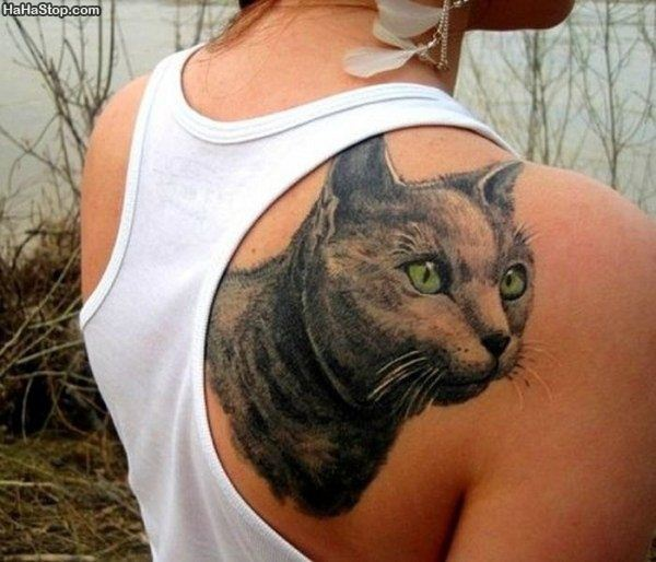 Sensation Green And Black Color Ink Large Cat Tattoo On Shoulder Back For Girls