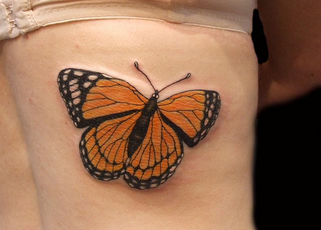89cab8775 Sensation Orange And Black Color Ink Monarch Butterfly Tattoos Design On  Rib For Girls