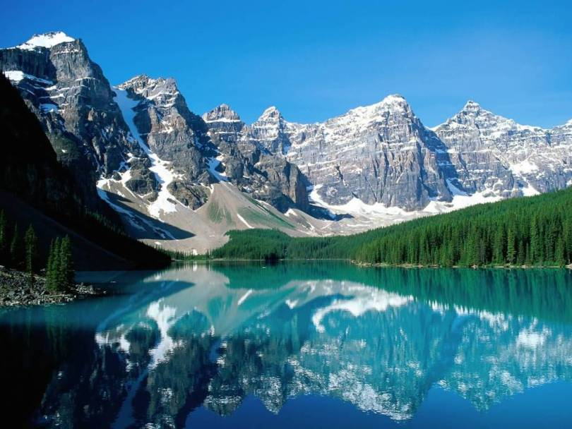 Simple Moraine Lake and Valley of Ten Peaks Banff National Park Canada 4K Wallpaper
