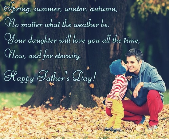 Spring Summer Winter No Matter Happy Father's Day Greetings Quotes Image