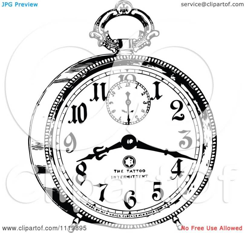 Stunning Black Color Ink Vintage Black And White Alarm Clock Tattoo Design For Girls