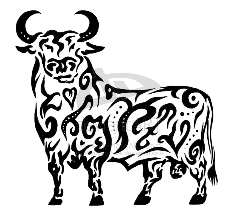 Superb Black And White Color Ink Tribal Standing Bull Tattoo Design For Boys