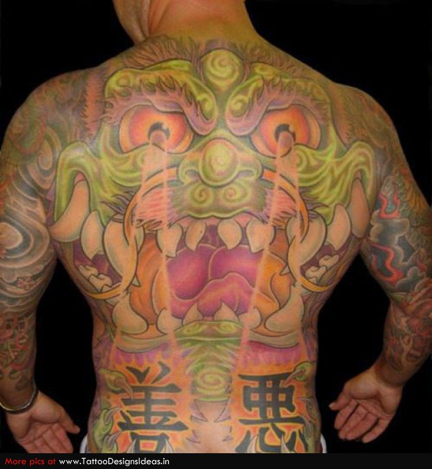 Superb Black Red And Green Color Ink Asian Back Tattoo For Boys