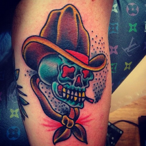 Superb Green Black And Red Color Ink Fabulous Cowboy Skull Tattoo Design For Girls