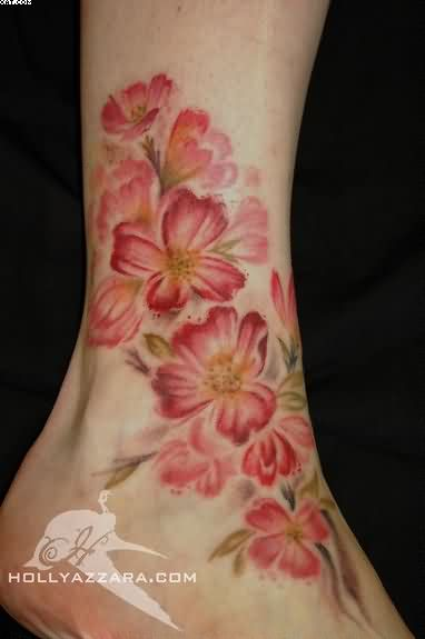 Superb Red And Yellow Color Ink Brush Paint blossoms Ankle Tattoo Design For Girls On Foot