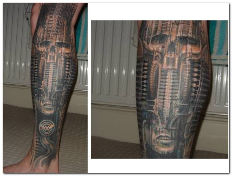 Sweet Black Color Ink Biomechanical Tattoo Design Picture On Leg For Boys