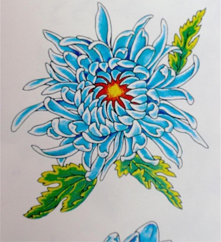 Sweet Blue And Green Color Ink Chrysanthemum Tattoo Sample For Girls
