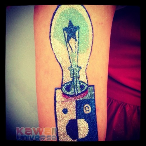 Sweet Blue Black And Red Color Ink Glitter Bulb Tattoo Design On Arm For Boys Copy