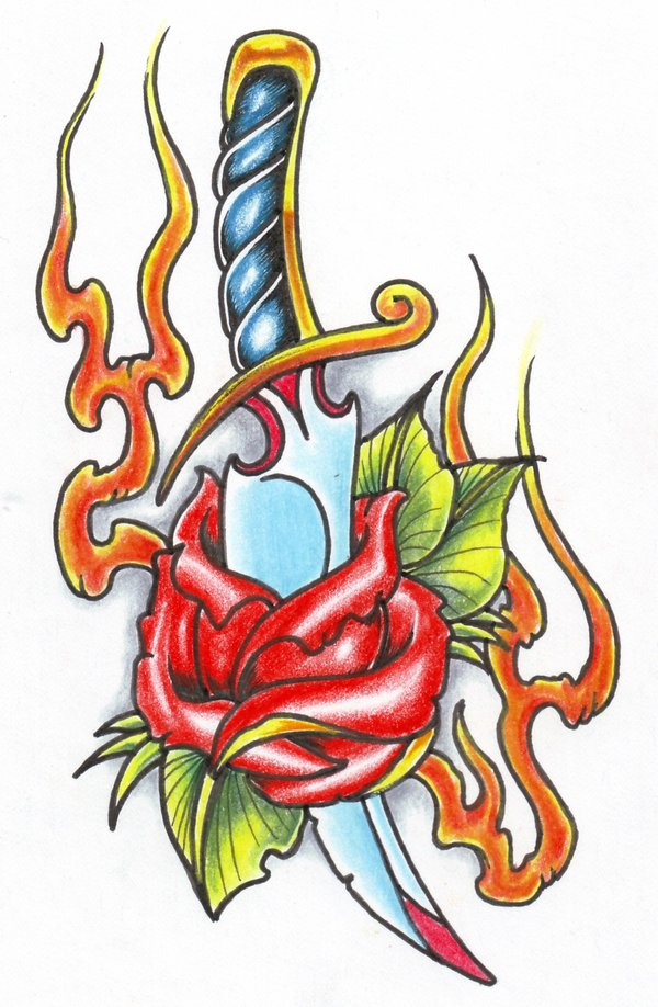 Sweet Blue Green Red And Black Color Ink Dagger Through Rose Tattoo Design For Girls