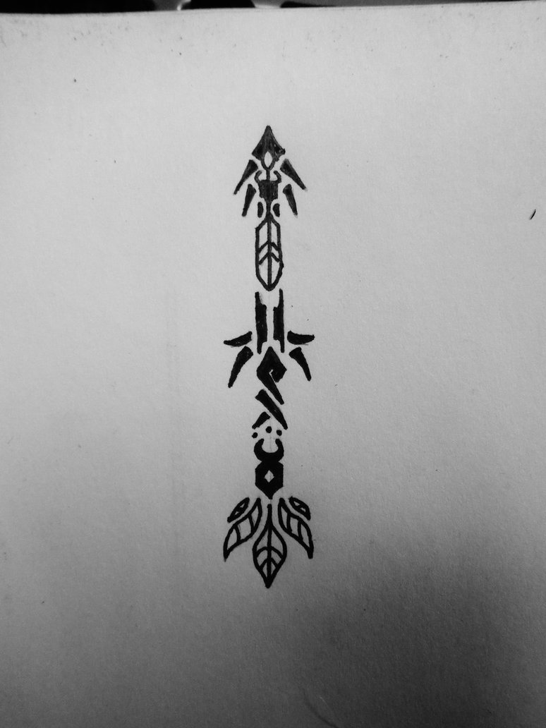 Terrific Black Color Ink 3 Inch Tribal Arrow Tattoo Design Page For Boys