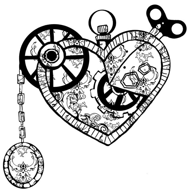 Terrific Black Color Ink Clock Work Heart Tattoo Model For Boys
