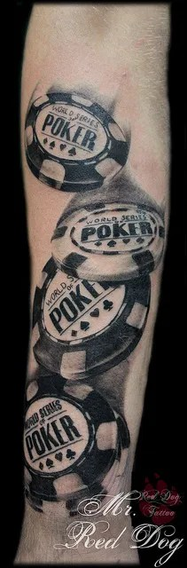 Terrific Black Color Ink Poker Chip Tattoo Design On Arm For Girls