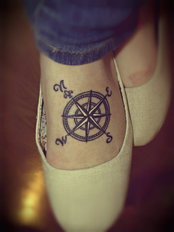 Terrific Red And Black Color Ink Compass Tattoo For Foot For Girls
