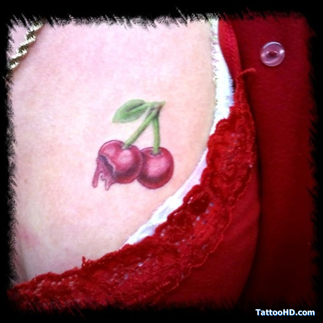 Terrific Red And Green Color Ink Juicy Cherry Tattoo Image On Chest For Girls