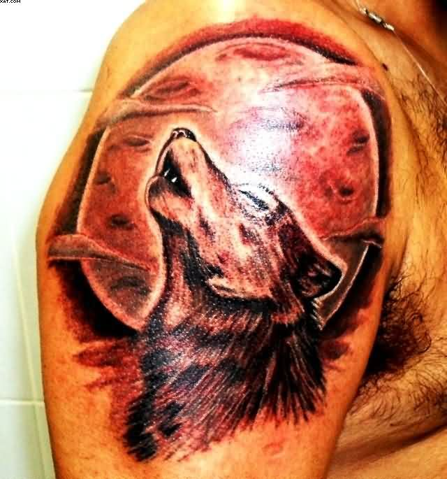 The Red Moon Tattoo On Shoulder With Wolf Howling With Red Ink