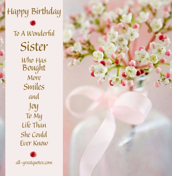 To My Wonderful Sister Happy Birthday Greetings Image