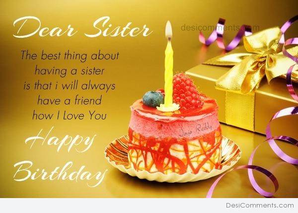 To The Best Sister Happy Birthday Wishes Image