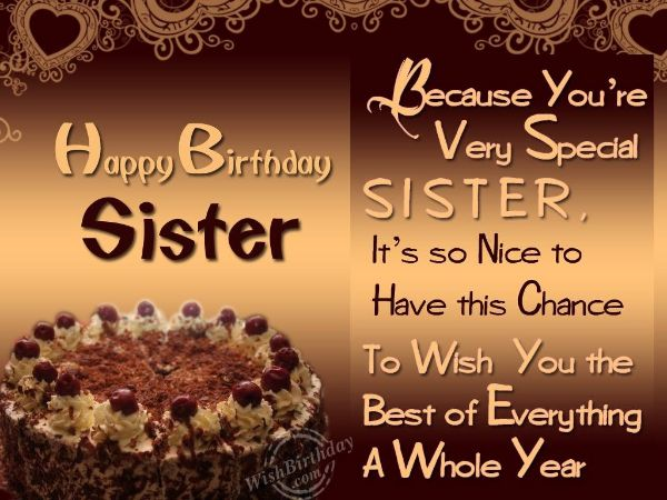 40 Cute Dear Sister Happy Birthday Wishes Greetings – Birthday Greeting Sister