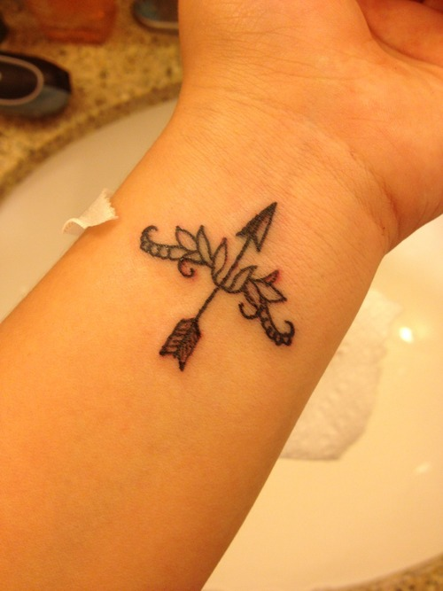 Traditional Black Color Ink Arrow And Bow Tattoos on Inner Wrist For Boys