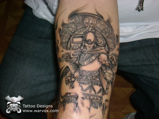 Traditional Black Color Ink Aztec Warrior Tattoo On Arm For Boys