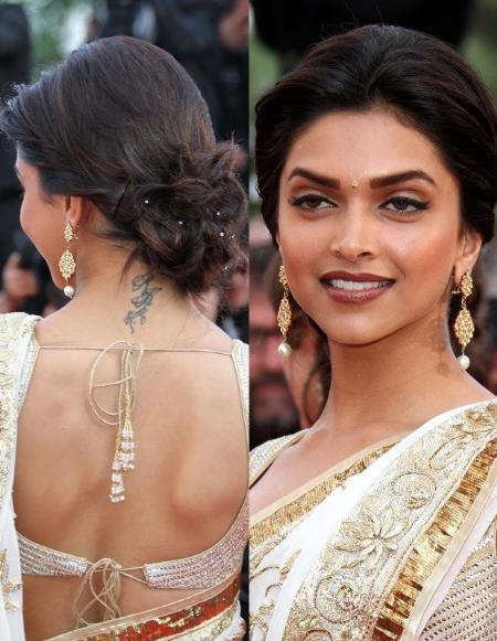 Traditional Black Color Ink Deepika Padukone Neck Back Tattoo For Girls