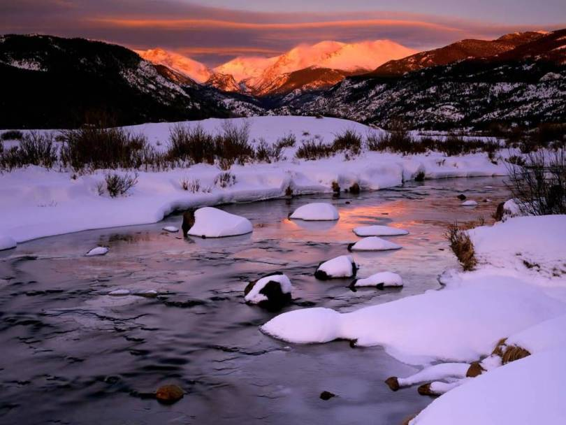 Tremendous Winter Sunrise Over Big Thompson River Rocky Mountain National Park Colorado 4K Wallpaper