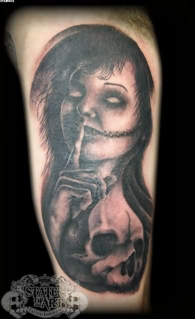 Tremendous Zombie Girl With Skull Tattoo